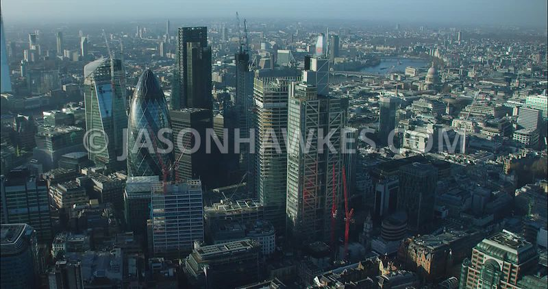 London Aerial footage, City of London skyline towards Liverpool Street.