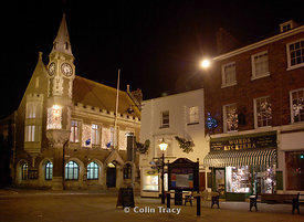Corn Exchange at Night, Dorchester