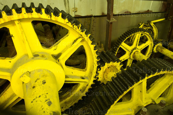 Close up of yellow interlocking metal gears