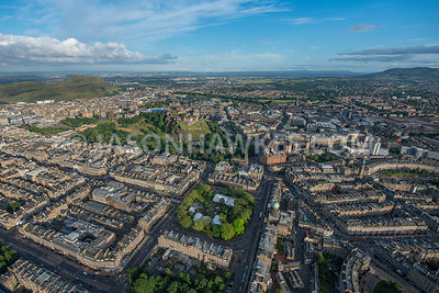 Aerial view of New Town, Edinburgh, Scotland.