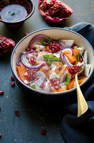 Pumpkin, onion and feta salad with pomegranate