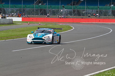 Ahmad Al Harthy and Michael Caine's race-winning Oman Racing Team Aston Martin Vantage GT3. In action at the Silverstone 500 - the third round of the British GT Championship 2014 - 1st June 2014
