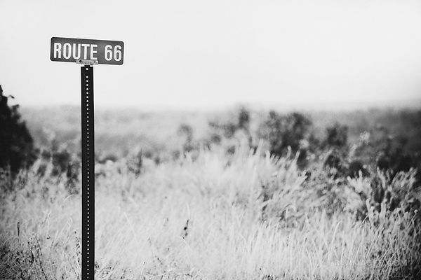 ROUTE 66 SIGN MISSOURI BLACK AND WHITE