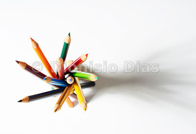 Bouquet of color pencils seen from above, horizontal format