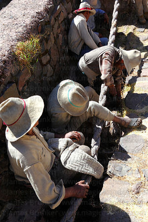 Men start to cut away the old foundation ropes so they can be replaced, Q'eswachaka , Canas province , Peru