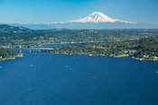 Lake Washington shoreline and Mount Rainier; Mercer Island, WA