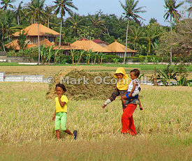 Mother and children in Bali