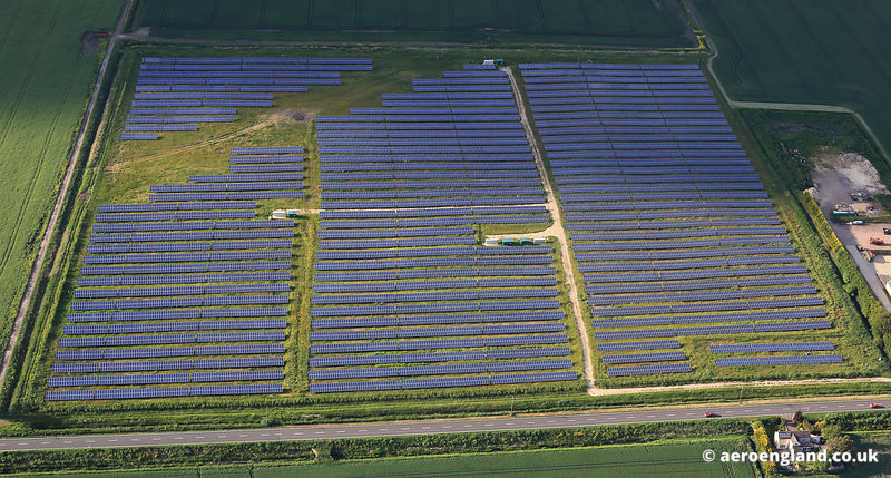 aerial photograph of Solar Farm  at Spalding Lincolnshire England UK.