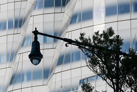 A lamppost in front of the IAC building in Chelsea on Manhattan's westside. The building was designed by the architect Frank Gehry and opened in 2007.