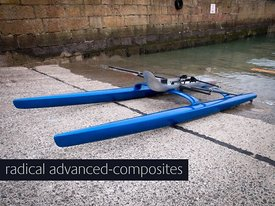 prototype #4 ROCAT rowing catamaran on the Penzance slipway