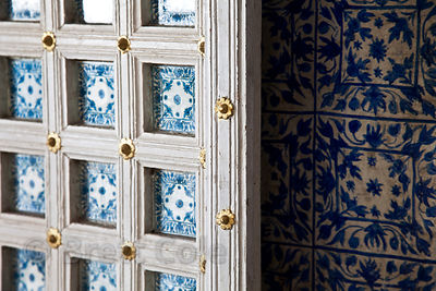 Beautiful blue doorway in the Udaipur city palace, Rajasthan, India
