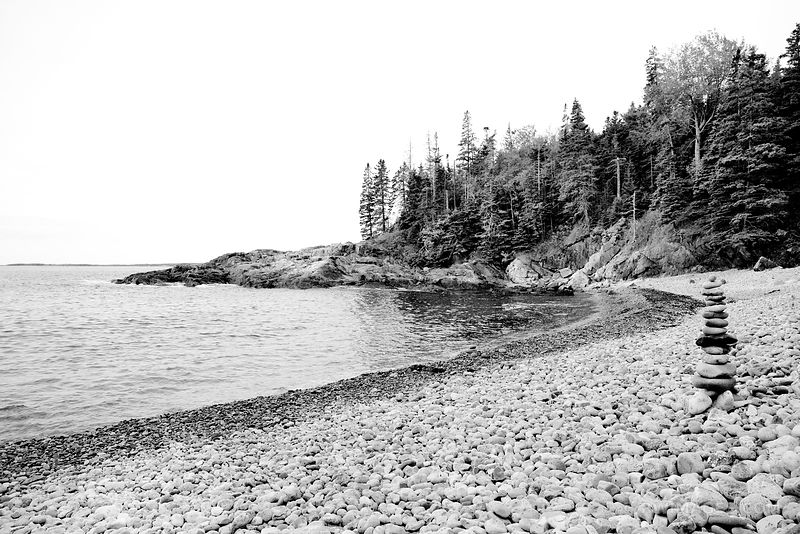 LITTLE HUNTERS BEACH ACADIA NATIONAL PARK BLACK AND WHITE