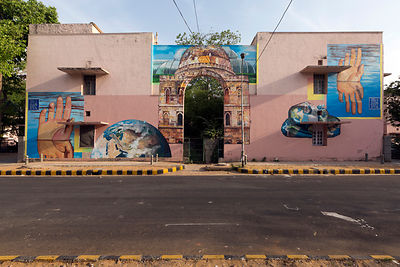 A street art mural by NEVERCREW entitled, See through/See beyond on display in the Lodhi Colony area of New Delhi
