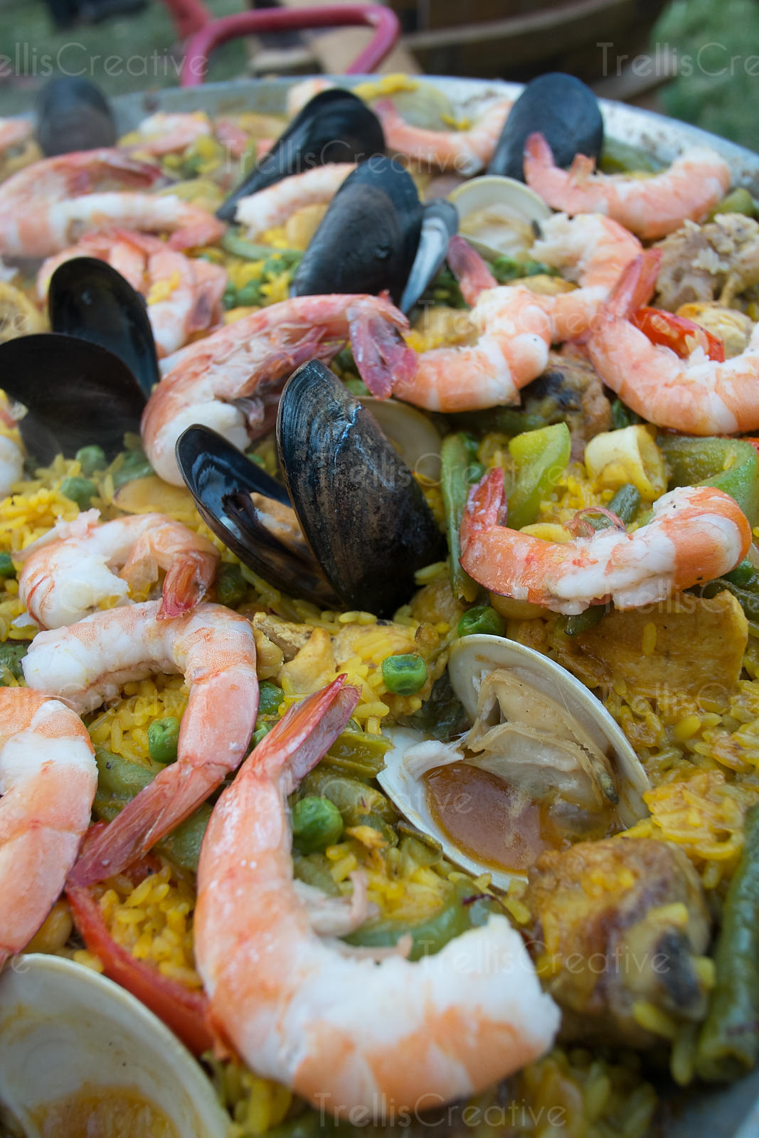 Close-up of delicious Spanish seafood paella