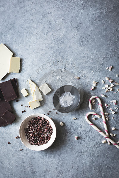 Ingredients for All-natural dark chocolate peppermint bark with cacao nibs and flaky salt
