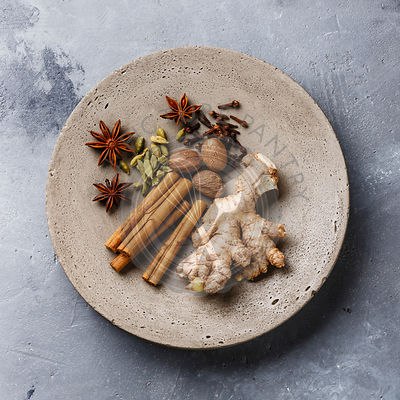 Spice Ingredient - .allspice, anise star, cardamon, cinnamon stick, ginger root, nutmeg