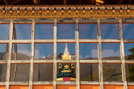 Looking into the meditation room of the Zhiwaling Hotel from the outside in Paro District, Bhutan.