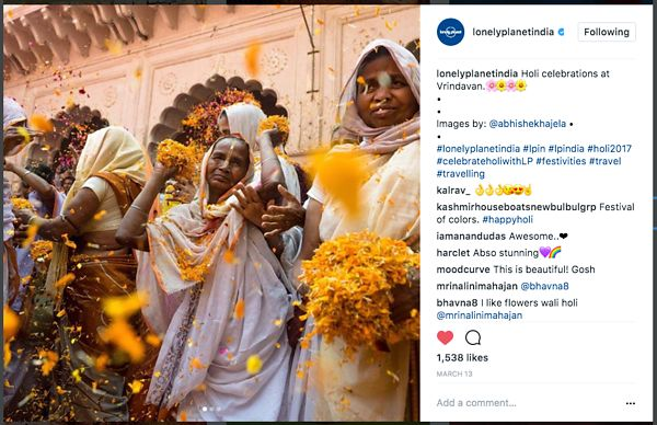 Lonely Planet official Instagram page; Holi Images; March 2017 photos