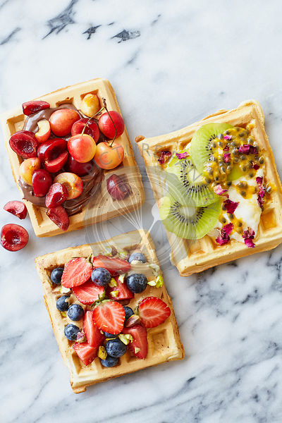Sweet Belgian Waffles with Fruit toppings