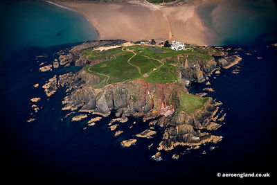 aerial photograph of  Burgh Island  Devon England UK