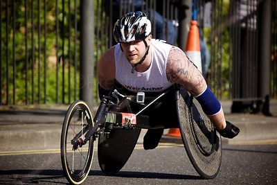 Wheelchair Athlete Competing in the Men's Wheelchair Event at the 2014 London Marathon