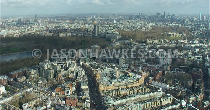 London Aerial footage, Knightsbridge towards Hyde Park Corner.