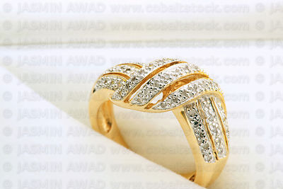 beautiful ring with small diamonds in jewelry box