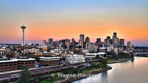 HDR Seattle Skyline at sunset