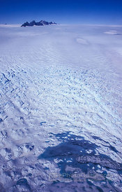 Aerial View of Snow Covered Ice-Plateau Cravasses