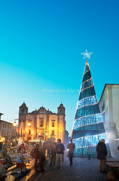 Christmas tree in Giraldo square near the cathedral, at dusk. Évora, a UNESCO World Heritage Site. Portugal