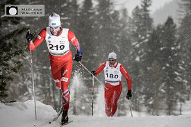 Cross country skiers at Interbancario 2018. Engadin, Schweiz.