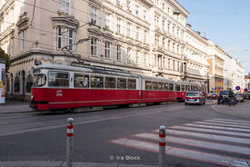 Tram in Vienna, Austria.  It is one of world's largest tram networks, at about 172.1 km (107 mi) in total length.