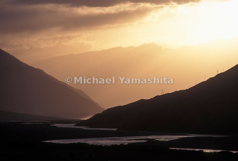 The Wakhan River in the Wakhan Corridor at sunrise. Qal' eh-ye Panjeh, Afghanistan.