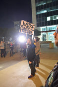 Protest outside Dallas police HQ after fifteen attacks, robberies against LGBT community, Dallas, USA (Brian Humek November 22, 2015)