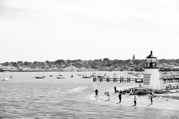 BRANT POINT LIGHT  NANTUCKET HARBOR BLACK AND WHITE