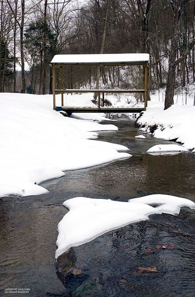 Bridge at cottage, snow