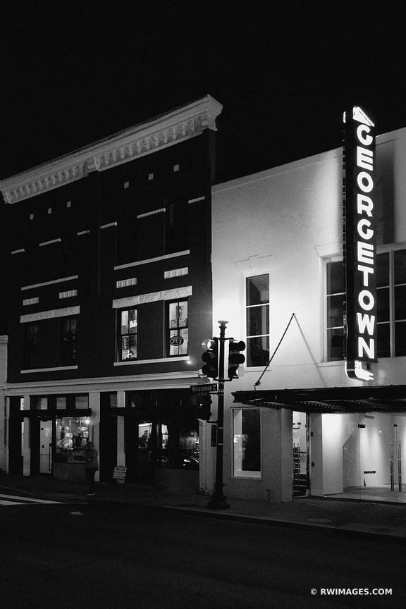 GEORGETOWN NEON SIGN GEORGETOWN EVENING NIGHT WASHINGTON DC BLACK AND WHITE VERTICAL