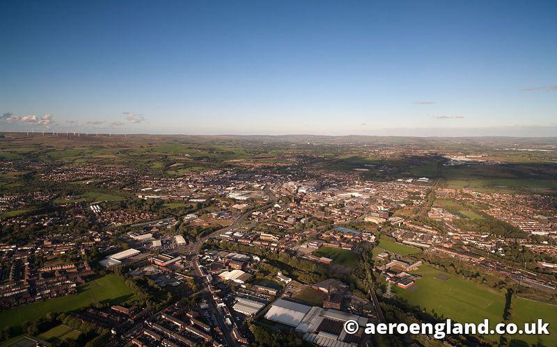 aerial photograph of Bury Greater Manchester England UK