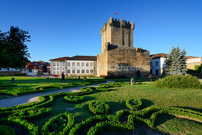 The main tower of the medieval castle of Chaves, dating back to 1258 AC. Trás-os-Montes, Portugal (MR)