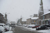 Snowfall in Main Street, Kirkby Stephen, Cumbria.