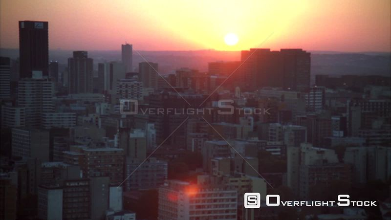 Aerial of Johannesburg Central Business District at sunset/sunrise. Johannesburg Gauteng South Africa