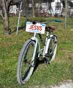 Bicycle with Jesus license plate