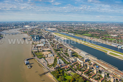 Silvertown and City Airport, aerial view, London Borough of Newham.