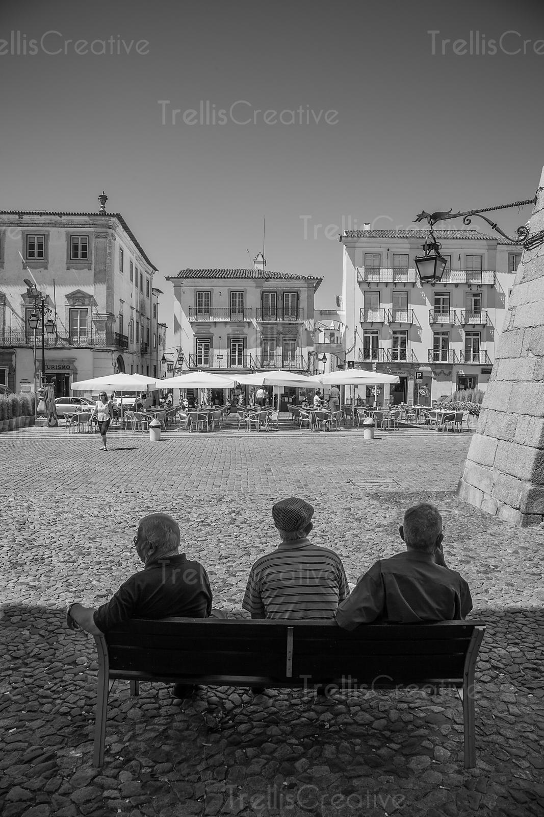 Benches are a vital social tool in many parts of the world. This bench has seen some heavy conversations. Evora, Portugal