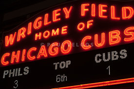 Wrigley Field Sign at Night