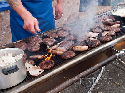 a sizzling barbeque at the Golowan Festival Mazey Day in Penzance