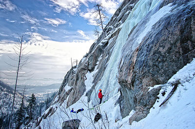 Climbers on Pearly Gates Ice