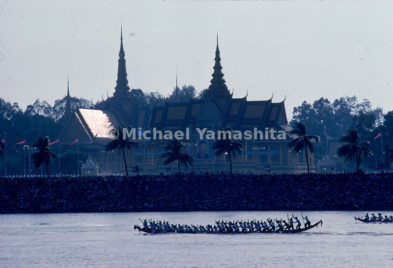 Oarsmen compete in pirogue races during the Festival of the Turning of the Waters. The festival celebrates the reversal of the flow of the Tonle Sap River sending the waters of the Tonle Sap Lake back into the Mekong River after the rainy season. Phnom Penh, Cambodia.