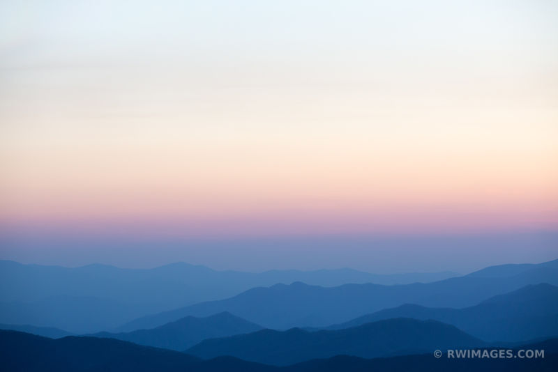 VIEW FROM CLINGMANS DOME SMOKY MOUNTAINS RIDGES AFTER SUNSET COLOR