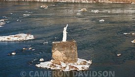 Aerial photograph of the Statue of Liberty in the middle of the Susquehanna River of Pennsylvania.